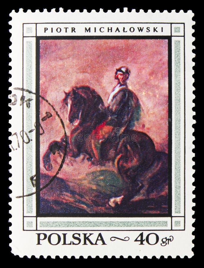 Cavaleiro no cavalo de baía, por Piotr Michalowski, serie polonês das pinturas, cerca de 1968 fotos de stock royalty free