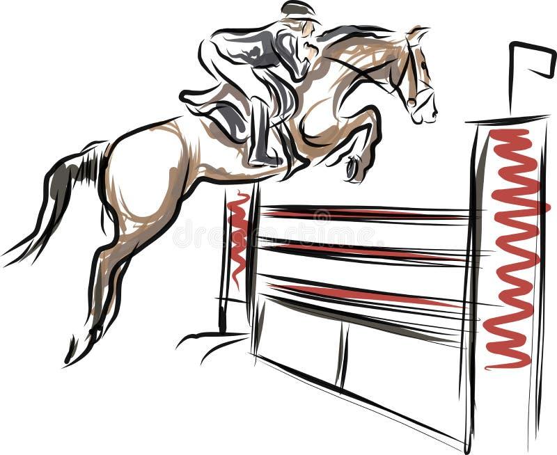 Cavaleiro no cavalo na mostra de salto ilustração do vetor