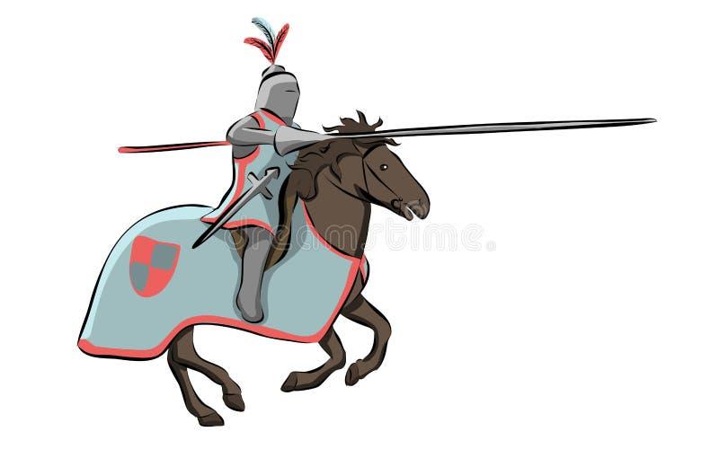 Cavaleiro no competiam medieval dos cavaleiros ilustração do vetor