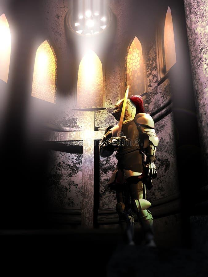 Cavaleiro para a cruz ilustração stock