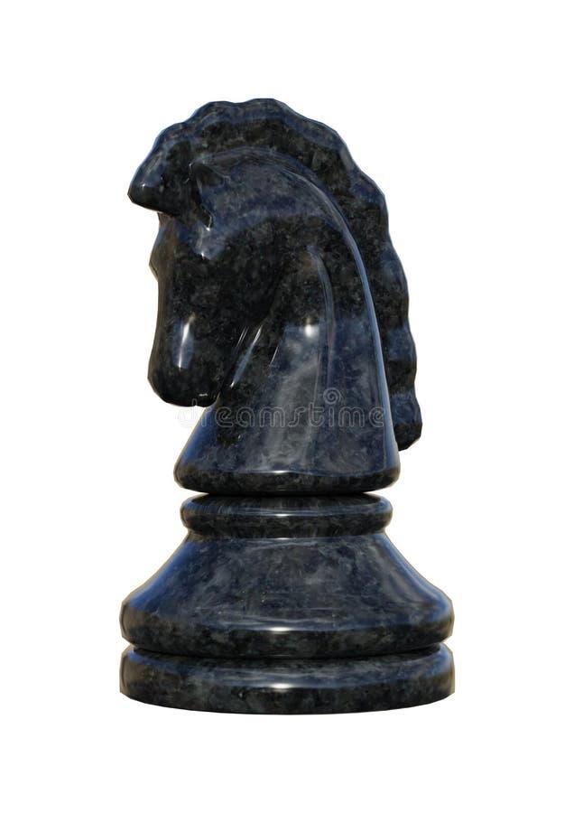 cavaleiro preto da xadrez da rendição 3D no branco imagens de stock royalty free