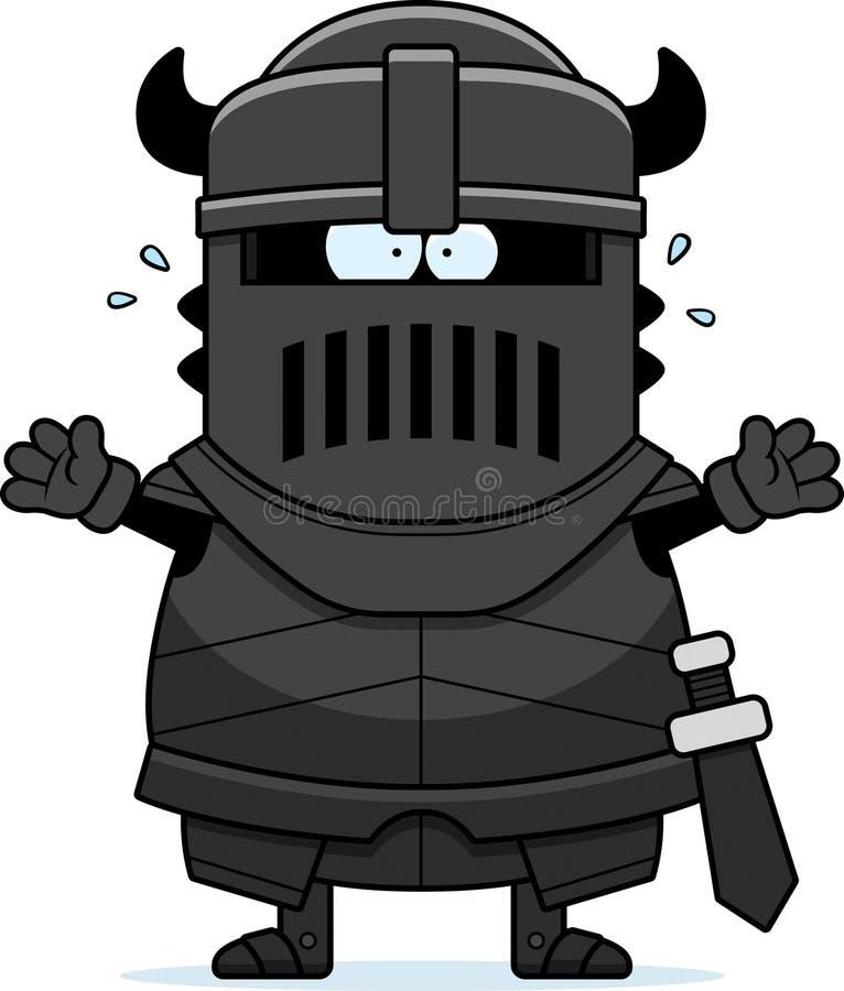 Cavaleiro preto dos desenhos animados assustado ilustração do vetor