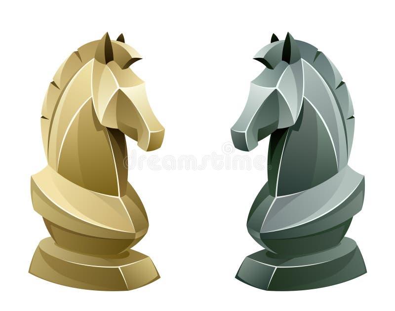 Cavaleiro preto e branco da xadrez ilustração royalty free