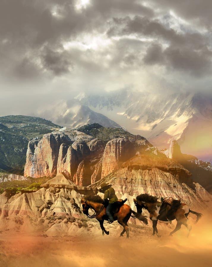 Cavaleiro que cruza o deserto ilustração stock