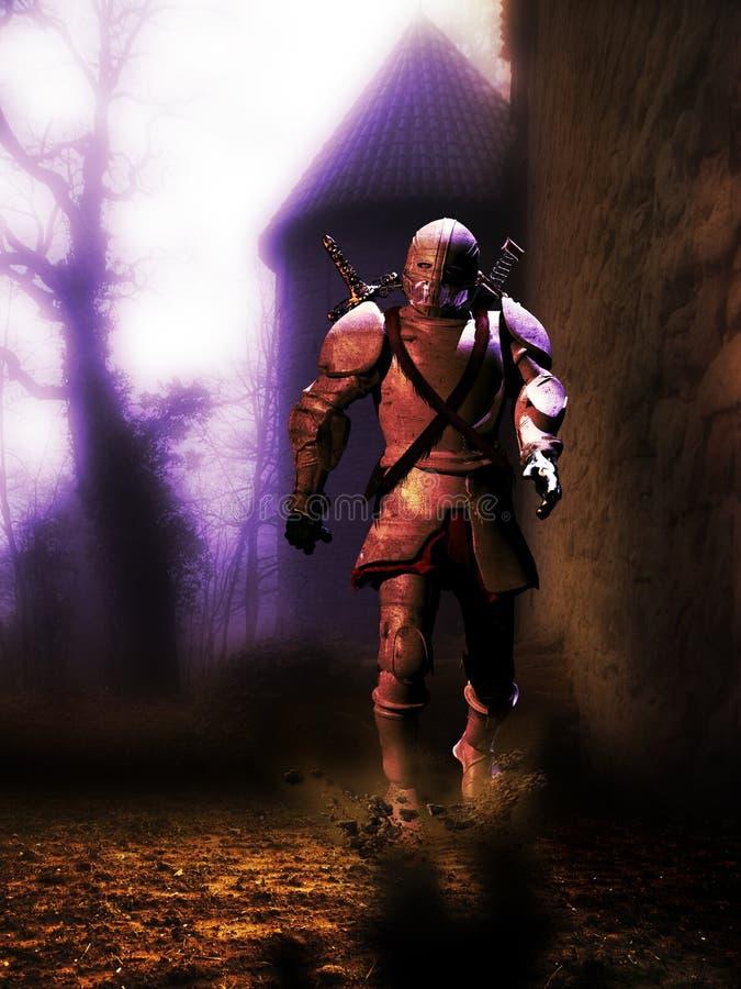 Cavaleiro que sai do castelo ilustração royalty free