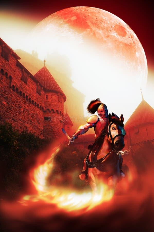 Cavaleiro que vai lutar sob a lua ilustração royalty free
