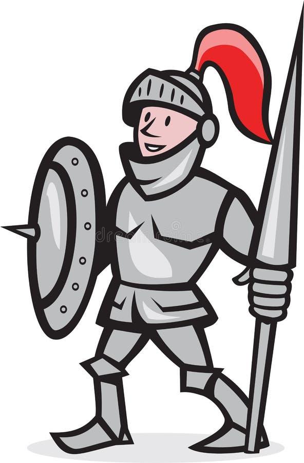 Cavaleiro Shield Holding Lance Cartoon ilustração royalty free
