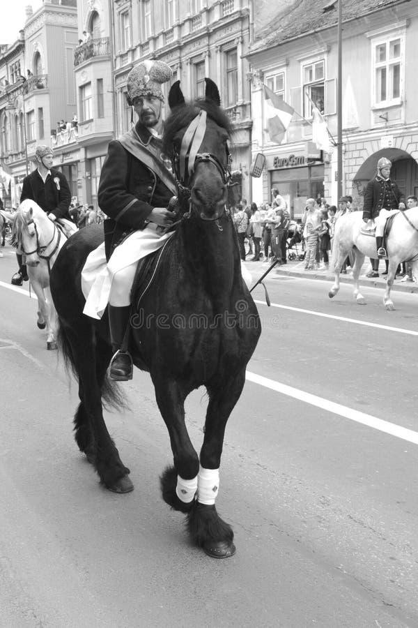 Cavaleiros com os cavalos durante Juni Parade, em Brasov, a Transilvânia fotografia de stock