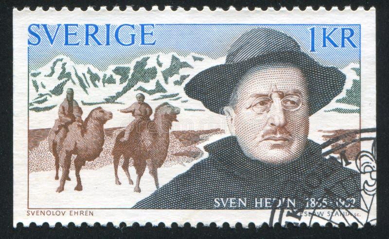 Cavaleiros de Sven Hedin e do camelo fotografia de stock