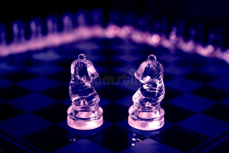 Cavaleiros de vidro da xadrez fotografia de stock