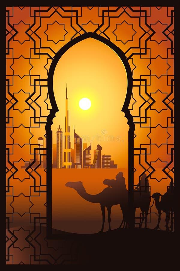 Cavaleiros do camelo no deserto perto da cidade de Dubai no fram do arabesque ilustração royalty free