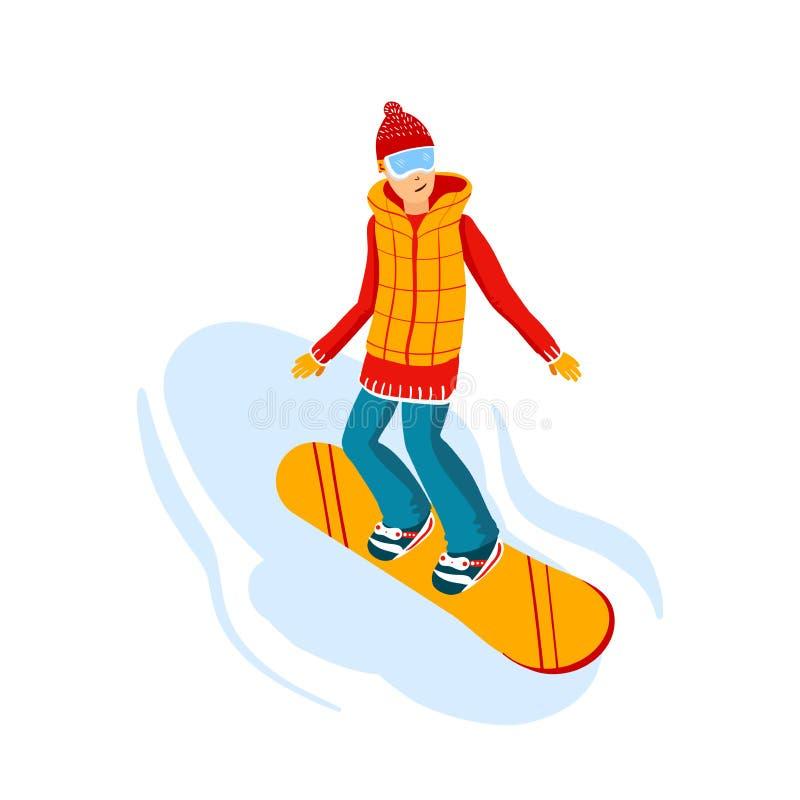 Cavaleiros do snowboard dos desenhos animados, homens A montanha do inverno ostenta a atividade, férias da estância de esqui Ilus ilustração do vetor