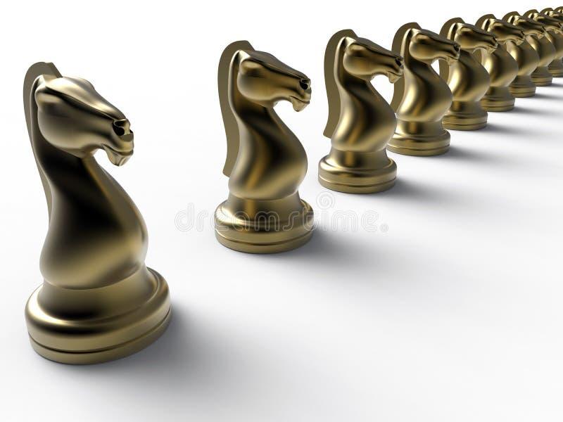 Cavaleiros dourados da xadrez ilustração stock
