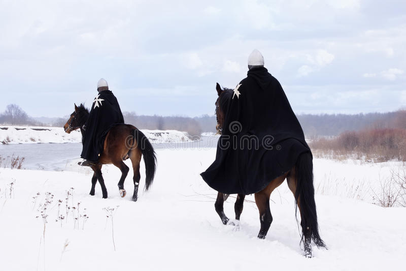 Cavaleiros medievais de St. John (Hospitallers) fotos de stock royalty free