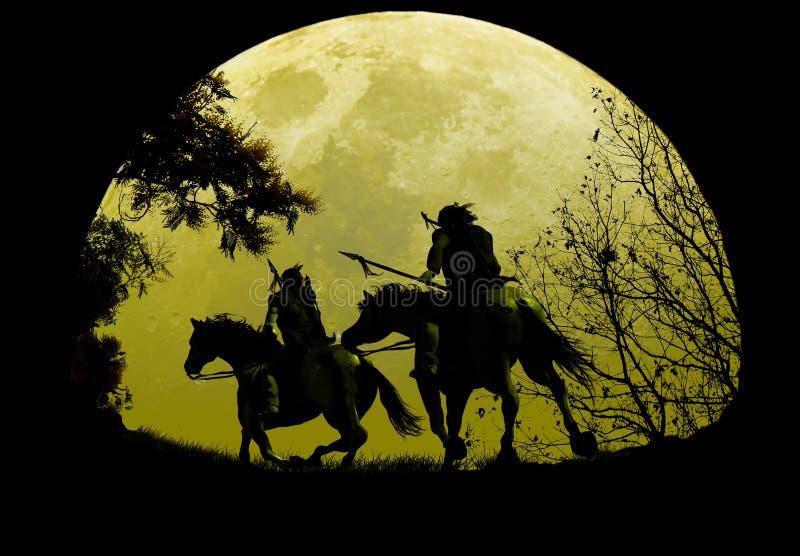 Cavaleiros nativos sob o Moonrise ilustração stock