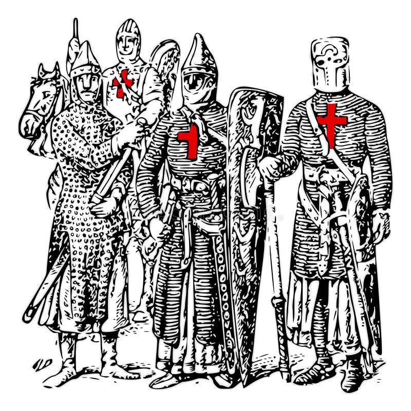 Cavaleiros Templar ilustração royalty free