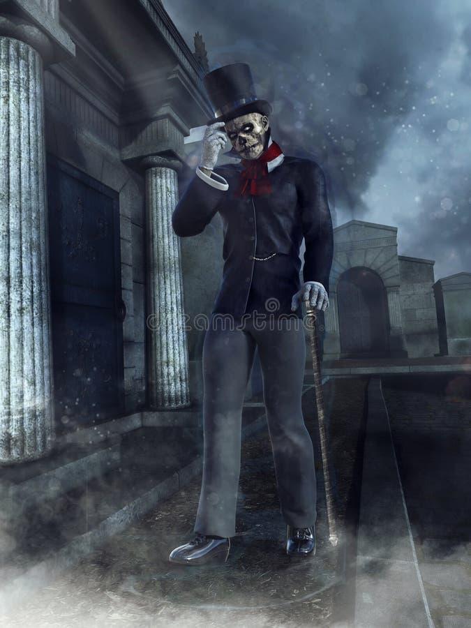 Cavalheiro do zombi em um cemitério ilustração royalty free