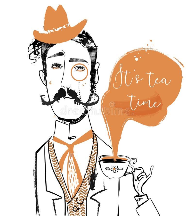 Cavalheiro dos desenhos animados com copo de chá ilustração royalty free