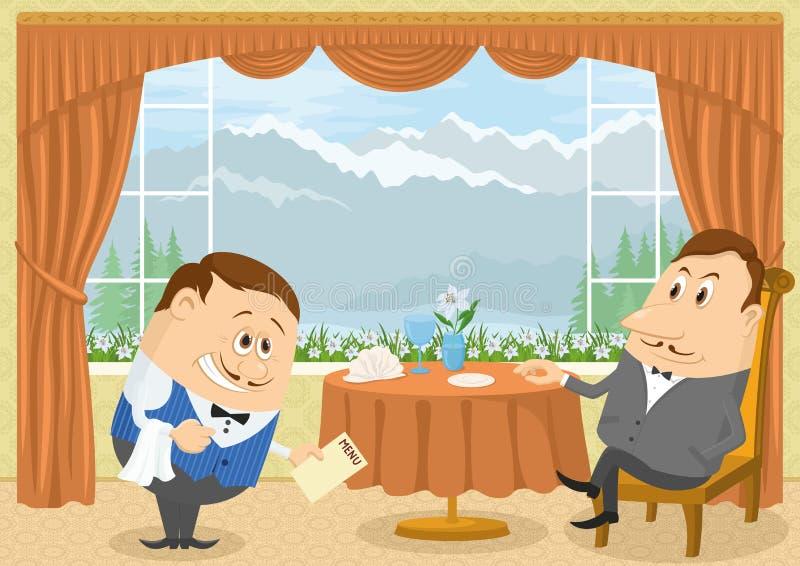 Cavalheiro no restaurante ilustração do vetor