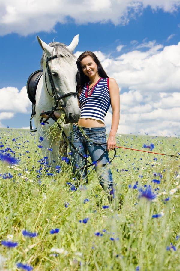Cavalier avec un cheval photographie stock libre de droits