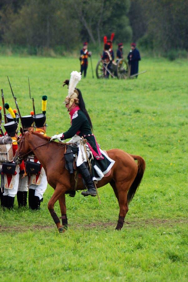 Cavalier de cheval à la reconstitution historique de bataille de Borodino en Russie photographie stock libre de droits