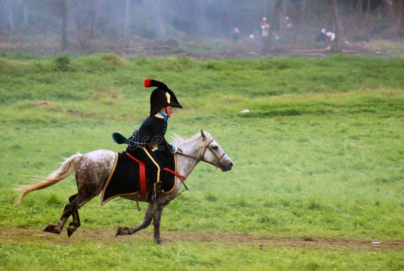 Cavalier de cheval à la reconstitution historique de bataille de Borodino en Russie photographie stock