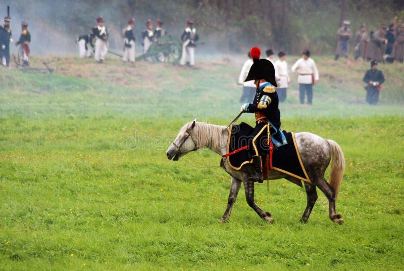 Cavalier de cheval à la reconstitution historique de bataille de Borodino en Russie photo libre de droits