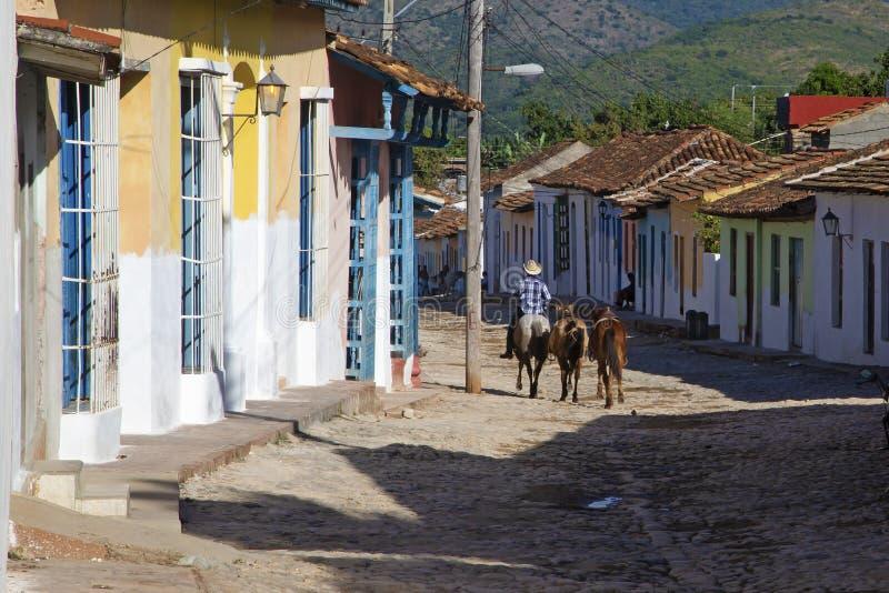 Cavalier de cheval dans la route du Trinidad du Cuba photographie stock libre de droits