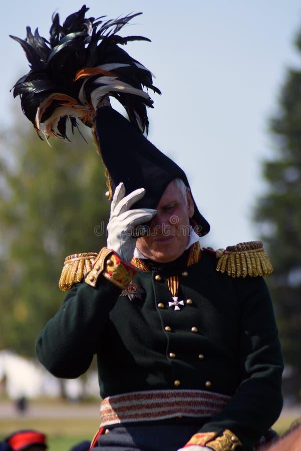 Cavalier de cheval de Reenactor à la reconstitution historique de bataille de Borodino en Russie photo stock