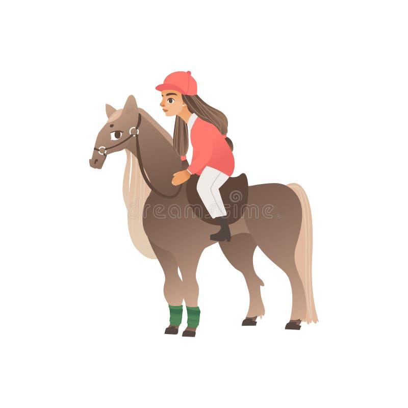 Cavalier de fille d'enfant en forme rose à cheval Monte et sport équestre pour les enfants et les adolescents, passe-temps avec d illustration de vecteur