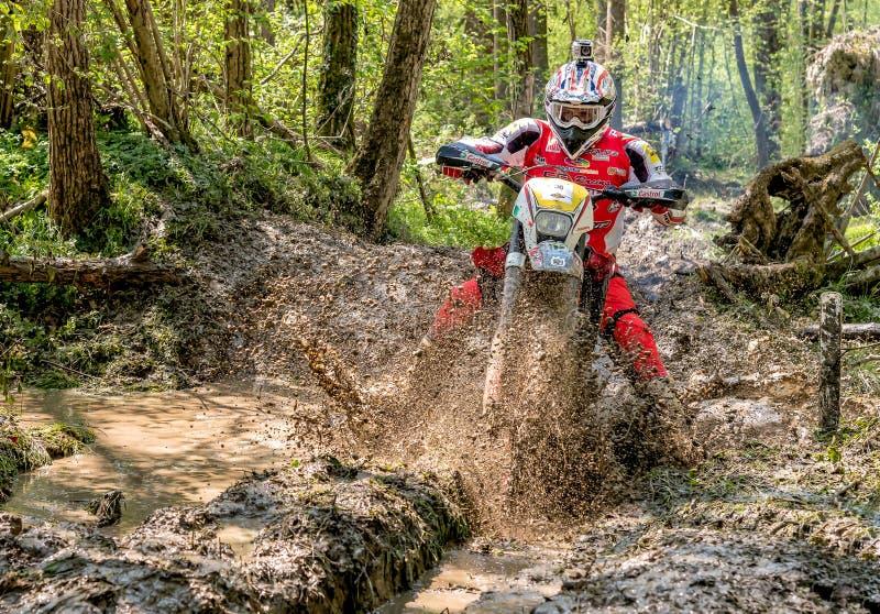 Cavalier de motocross éclaboussant la boue sur le terrain humide et boueux Concours généraux dans les motocross dans la province  images stock