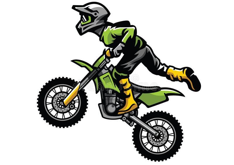Cavalier de motocross faisant le cascade illustration stock