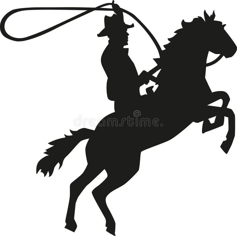 Cavalier de rodéo de cowboy avec le lasso sur le cheval illustration de vecteur