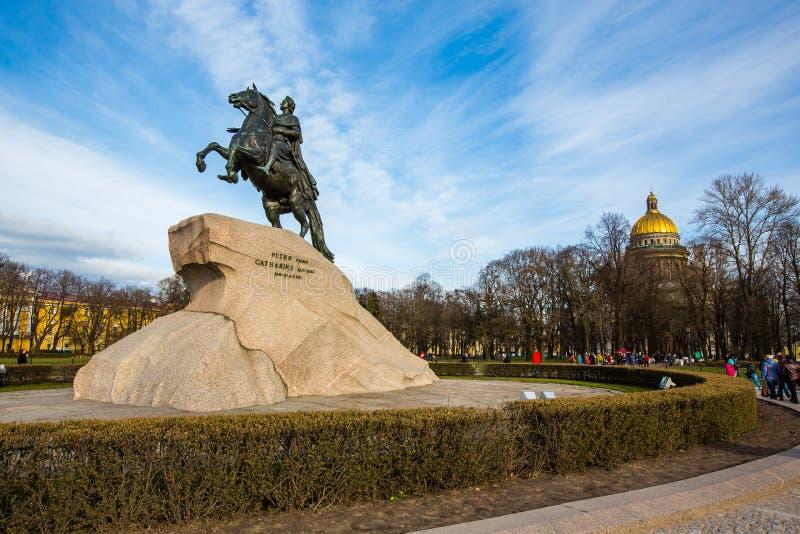 Cavalier en bronze, statue équestre de Peter le grand - St Petersbourg, Russie image stock