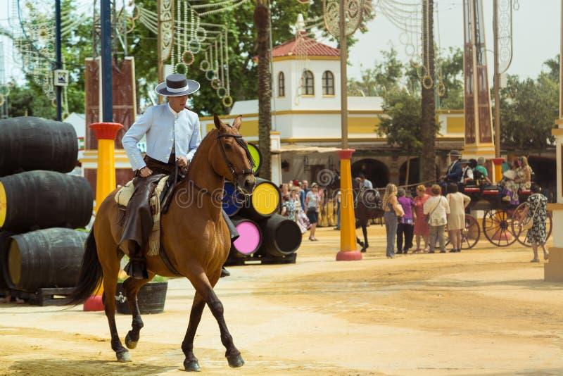 Cavalier espagnol dans le chapeau débordé large photographie stock
