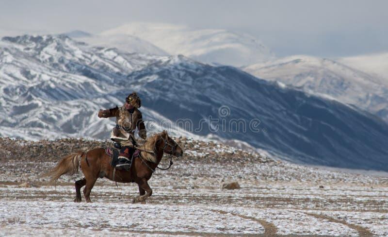 Cavalier mongol de cheval dans les montagnes pendant le festival d'aigle d'or photos stock