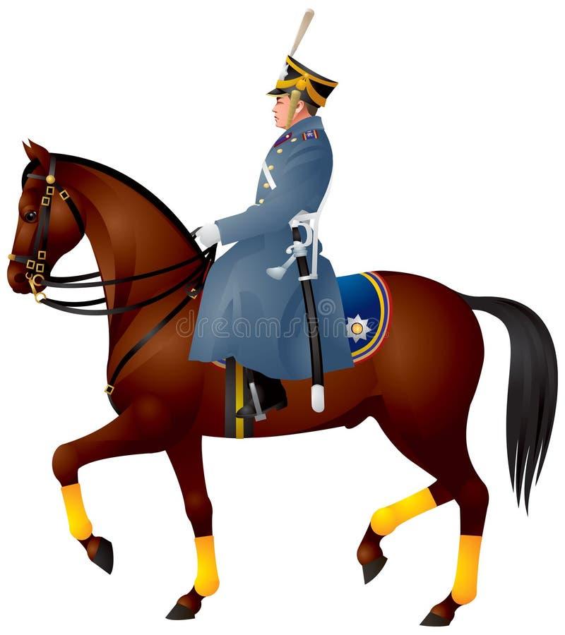 Cavalier su un cavallo, dragoon russo illustrazione vettoriale