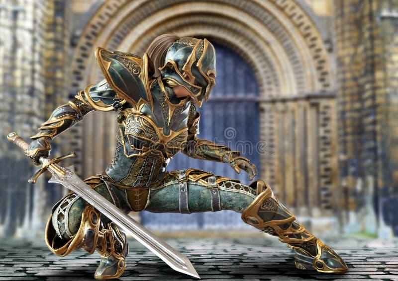 Cavaliere capitano donna in posa con la spada royalty illustrazione gratis