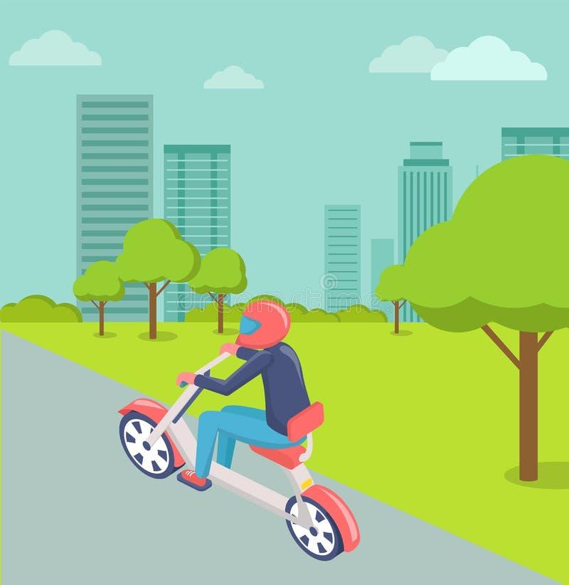Cavaliere in città, paesaggio urbano moderno della motocicletta della città illustrazione di stock