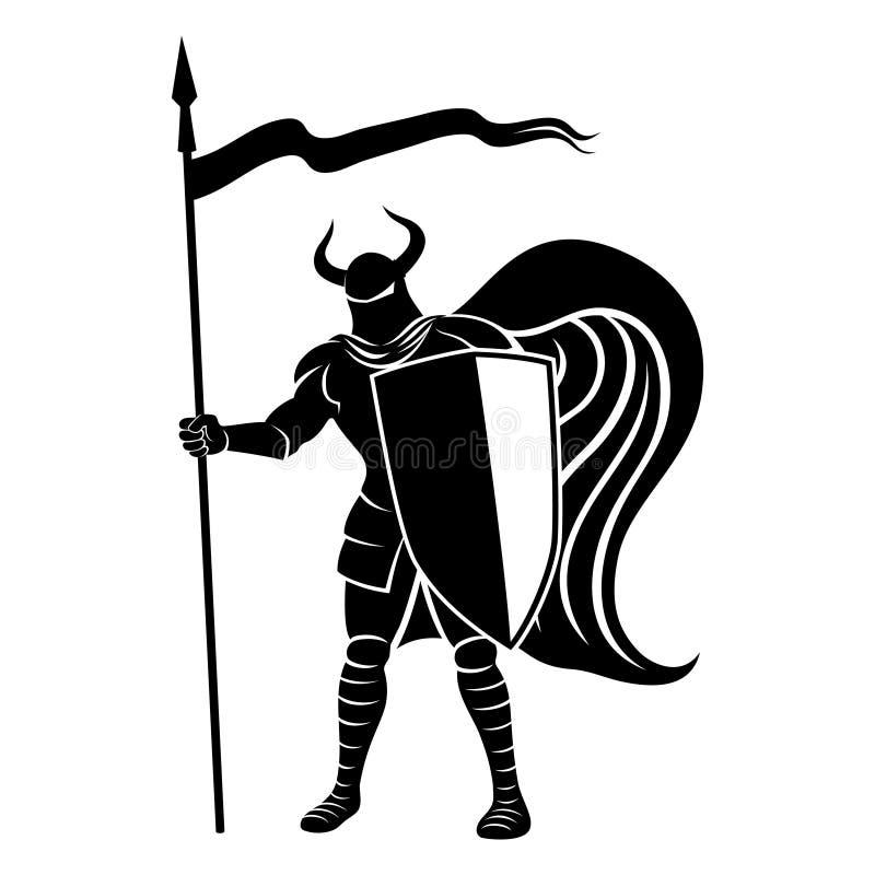 Cavaliere con lo schermo e la lancia illustrazione di stock