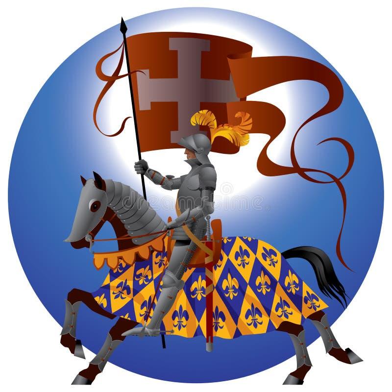 Cavaliere con uno standard illustrazione vettoriale