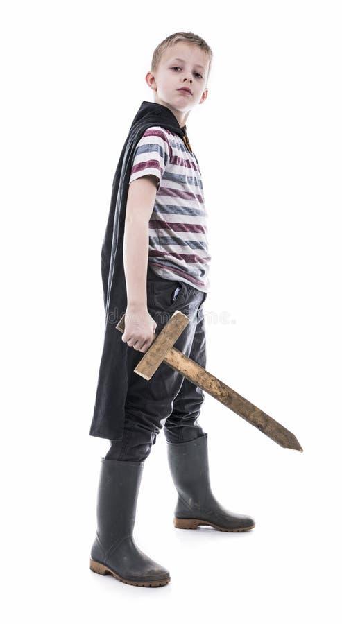 Cavaliere coraggioso del ragazzino immagini stock libere da diritti