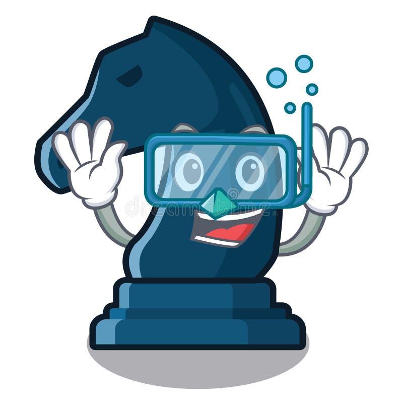Cavaliere d'immersione di scacchi accanto alla tavola del fumetto royalty illustrazione gratis