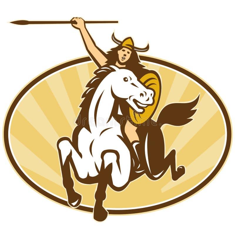 Cavaliere del cavallo del guerriero di Amazon di valchiria illustrazione di stock