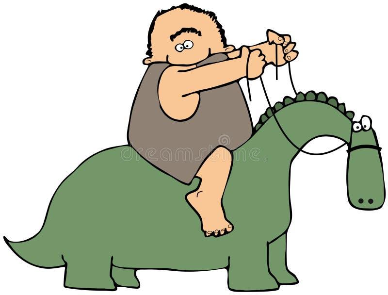 Cavaliere del dinosauro illustrazione di stock