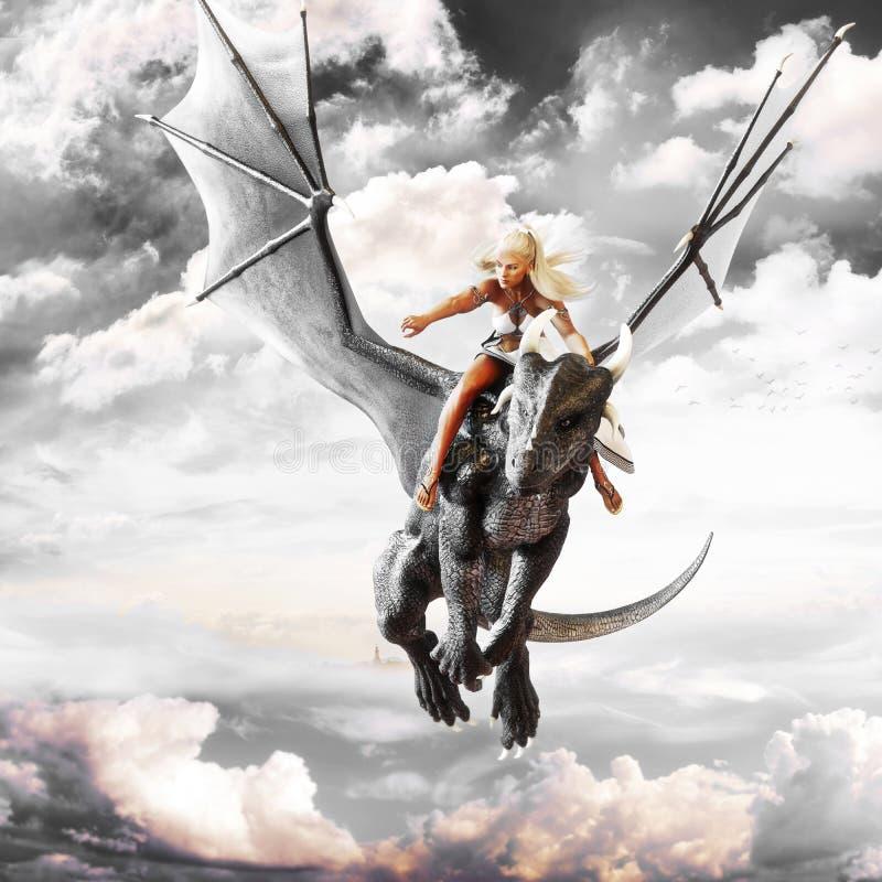 Cavaliere del drago, femmina bionda che guida la parte posteriore di un drago di volo nero illustrazione di stock