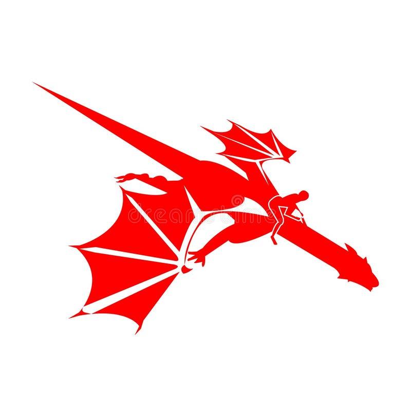 Cavaliere del drago, isolato su bianco illustrazione di stock
