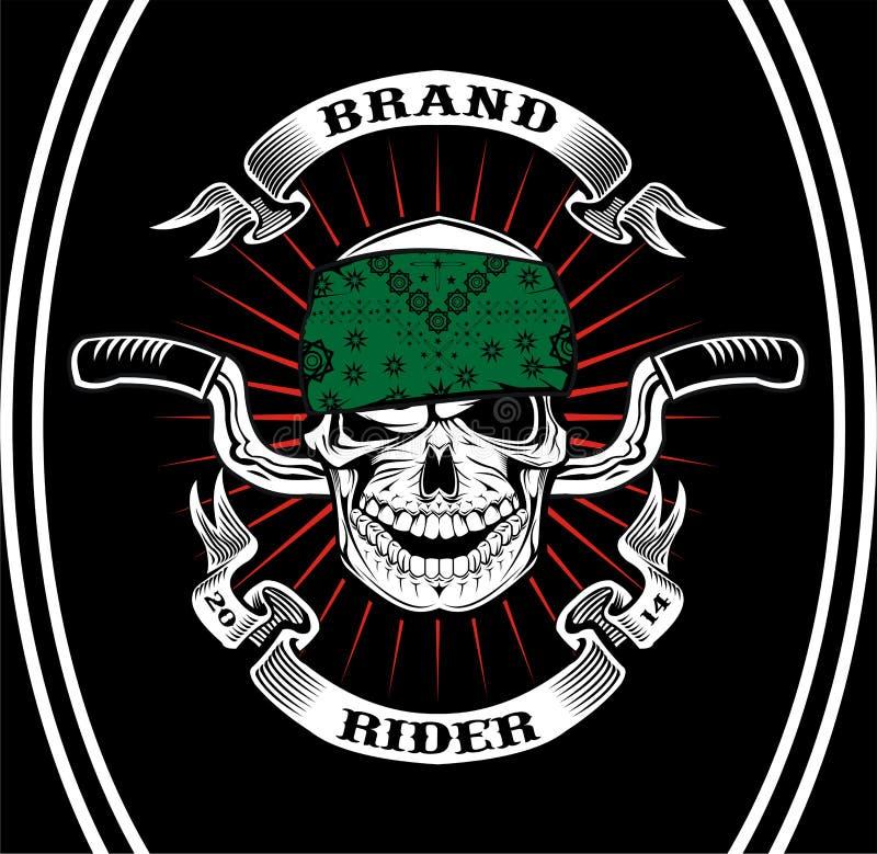 Cavaliere del motociclista del cranio illustrazione di stock