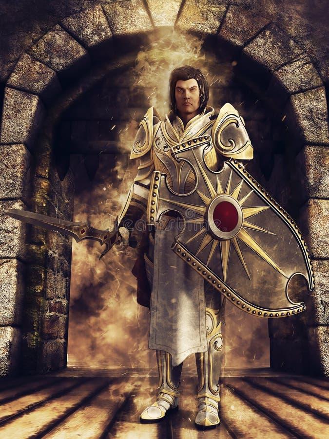Cavaliere di fantasia con uno schermo e una spada illustrazione di stock