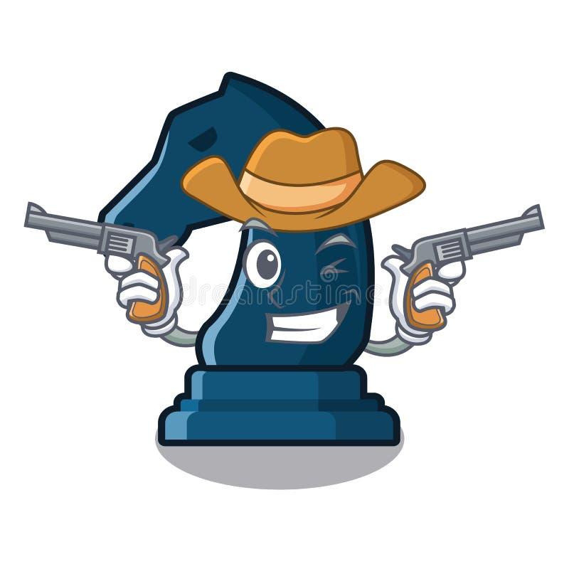 Cavaliere di scacchi del cowboy nella forma della mascotte royalty illustrazione gratis